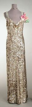 Worth Iridescent Sequined Evening Gown   French, 1930s   With sweetheart neckline, rhinestone straps, low V back, mousseline embroidered with pale green, purple and gold, sequins, size 8, labeled: Worth.