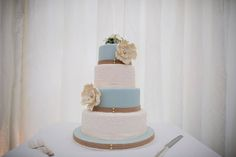 Sage and ivory wedding cake