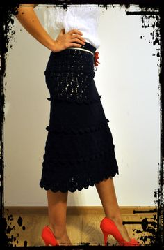 Made to Measure Clothes – Crochet Cocktail Midi Skirt – a unique product by uki-boots on DaWanda Lace Skirt, Midi Skirt, Cocktails, Clothes For Women, Crochet, Boots, Unique, Skirts, Crafts