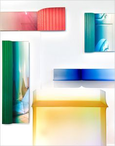 #salonedelmobile2016 At the gallery of Rossana Orlandi, the famed septuagenarian talent scout, the Latvian designer Germans Ermics stole the show by applying colored gradients to a trio of optical-illusion mirrors and a frosted-glass shelf and console.