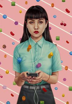 Both sinister and tranquil with a contemporary realism.  Checkout Alex Gross