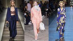 Tendance mode printemps-été 2016 Sleepwear  Sleepwear  Le pyjama porté de jour comme de nuit : tel est le crédo des créateurs qui détournent et modernisent ce grand classique en version prêt-à-porter. Taillé dans les plus belles soies, souligné d'un passepoil, imprimé de motifs japonisants… Une réinterprétation du genre exposant à la lumière du jour les rêveries de la nuit.  De gauche à droite : Etro, Loewe et Dolce & Gabbana