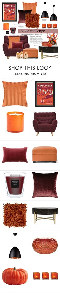 """""""Color Challenge: Pumpkin and Burgundy / Tracy Mid Century Button Tufted Chair Merlot"""" by palmtreesandpompoms ❤ liked on Polyvore featuring interior, interiors, interior design, home, home decor, interior decorating, Missoni Home, LAFCO, Homelegance and Jiti"""