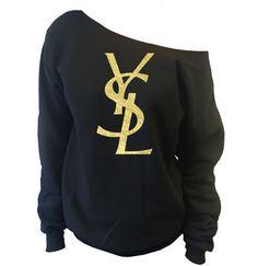 YSL Yves Saint Laurent Inspired Off-The-Shoulder Oversized Slouchy Sweatshirt