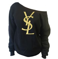 YSL Yves Saint Laurent Inspired Off-The-Shoulder Oversized Slouchy Sweatshirt These wide neck slouchy sweatshirts are cut symmetrically so you can choose whether you want to wear it off one shoulder o