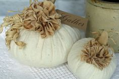 Fabric Pumpkin Set Off White Warm Natural Rustic Cottage Chic Fall Thanksgiving…