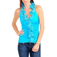 Turquoise Blue Ruffled Collar & Front Sleeveless Top Blouse Size Large Marshmallow. $26.99. Stylish & Sexy. rayon-blend. 94% Rayon 6% Spandex. Made In USA. Upper back area is open for added styling.. Save 25% Off!