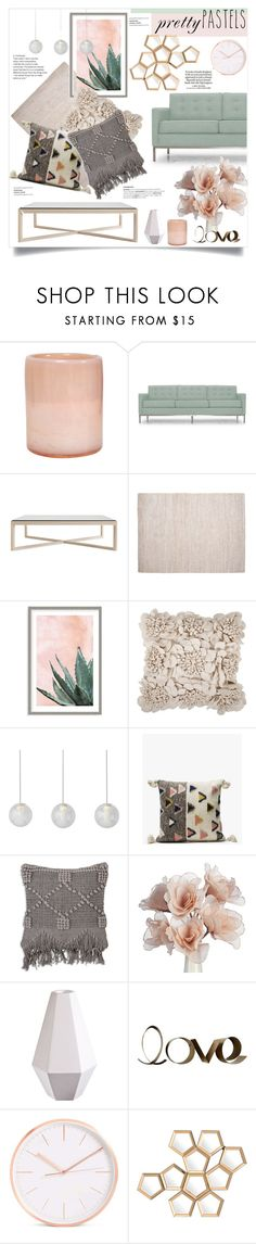 """""""Pretty Pastels"""" by mandiek-2 ❤ liked on Polyvore featuring interior, interiors, interior design, home, home decor, interior decorating, Holly's House, Joybird, Design Within Reach and Pottery Barn"""