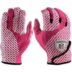 NFL Equipment Fuel Football Receiver Gloves (Pink/White) - Breast Cancer Awareness Special Edition!