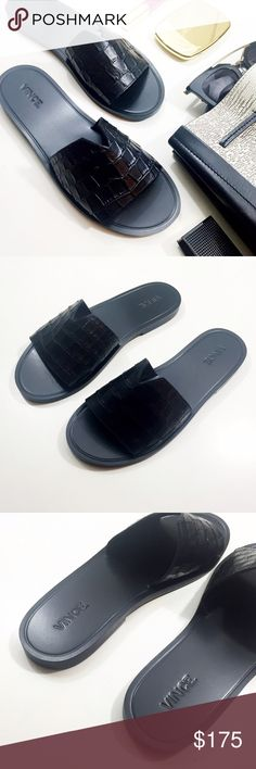 Vince Croc Embossed Slides Size 7.5, brand new in box. Best for a narrow to medium width foot (for reference, my feet are slightly wide and I had to size up to an 8 in these). Vince Shoes Sandals