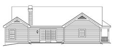 Bungalow Country Craftsman Ranch Rear Elevation of Plan 87811