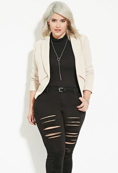 """Plus Size Textured Blazer 