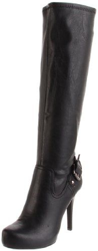 $67.08-$149.00 BCBGeneration Women's Fargo Boot,Black,9.5 M US - Step out in style with this platform riding inspired boot from BCBGeneration.  This sexy boot features stretch leather upper with inside zipper for easy on and off.  Also features strap and antique silver buckle detail around the ankle, hidden platform and stiletto spike heel for a riding boot style with serious attitude.  Shaft meas ...