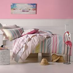 Hiccups Festival Stripe in pink Quilt Cover Set