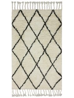 Berber Shag Hand-Knotted Rug from Classic Combo: Black & White on Gilt