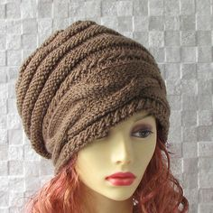 Brown Slouchy hat Slouch knit hat for women Brown by AlbadoFashion