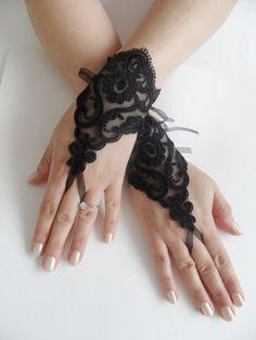 FREE SHIPWedding Gloves Black lace gloves by WEDDINGHome on Etsy, $25.00
