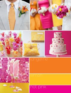 tangerine, yellow, and hot pink