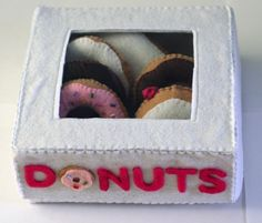 Felted donuts and box pattern - this would cute for kids to play with