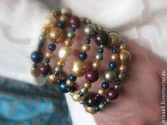 Браслет 8714 - золотой,золотой браслет,жемчуг Сваровски,жемчужный браслет