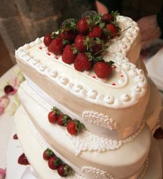 I love the strawberry and sweetheart shaped cake