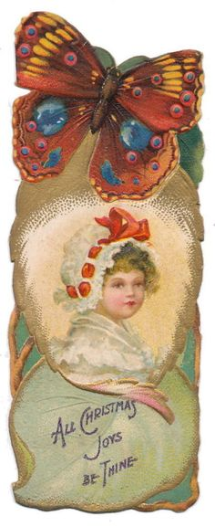 Ellen Clapsaddle Christmas Bookmark - Girl in Bonnet, Butterfly