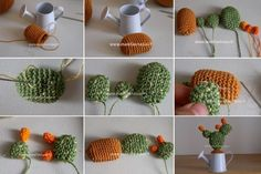 Piante grasse uncinetto in miniatura schemi e spiegazioni - manifantasia Crochet Shell Blanket, Minis, Free Pattern, Knit Crochet, Succulents, Miniature, Embroidery, Knitting, Rose
