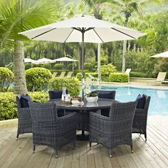 Summon 8 Piece Outdoor Patio Sunbrella(R) Dining Set, Canvas Navy - Experience the outdoors with exceptional comfort and quality. Summon offers an exquisite two-tone synthetic rattan weave, plush all-weather cushions with industry-leading Sunbrella(R) fabric, UV protection, and a sturdy powder-coated aluminum frame. Featuring rounded arms and an elegant modern look, Summon is an avant-garde outdoor sectional series well-equipped for enhancing patio, backyard or poolside gatherings. This…