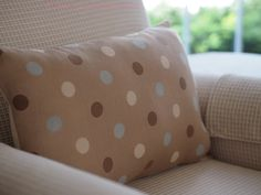 PolkaDot Pillow Beige with Cream, Taupe Brown & Sky Blue Dots. $28.00, via Etsy.