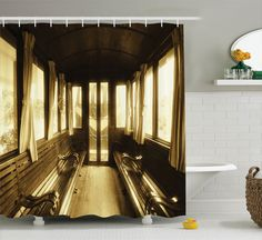 Antique Vintage Train Salon Interior Historic Architecture Fabric Shower Curtain…