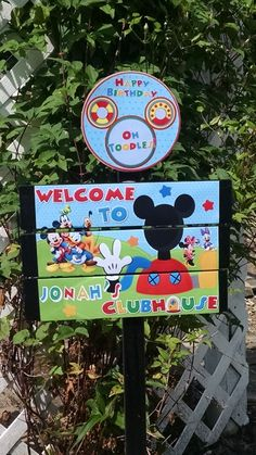 Mickey Mouse Clubhouse Birthday Yard Sign by TickleMeParty on Etsy https://www.etsy.com/listing/198073306/mickey-mouse-clubhouse-birthday-yard