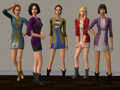 A fresh new set with five dresses w/ cardigans, based on Sensate's mesh