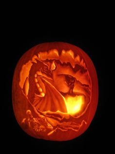 smaug pumpkin  ... Lair, carved for sp...