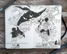 """""""#72 Never give up on drawing"""", Gabriel Picolo, Brazil. """"I used to sketch on the walls the world I wanted to see."""" This one is very personal to me. I guess all artists come to a point where they need to hear something like that to keep going. Never lose track of what got you into drawings. Keep drawing. It does get better!. Notice that the guy didn't threw away his old sketch. Keep your old drawings and laugh at your old mistakes after some time."""