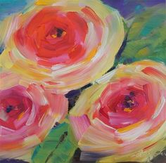 "Daily Paintworks - ""Three roses"" - Original Fine Art for Sale - © Lisa Fu"