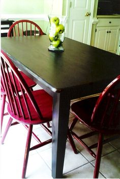 I painted my old brown table & chairs(& bench) & then distressed edges.. love it now!
