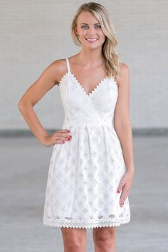 Lily Boutique First Date Crochet Lace Sundress in Off-White, $44 Off White Lace A-Line Party Dress, Off White Summer Dress Online, Rehearsal Dinner Dress www.lilyboutique.com