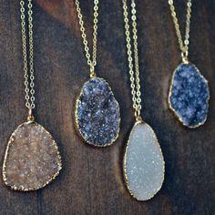 Druzy Necklaces /// Gold