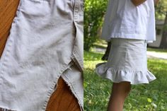 Pants remade into a ruffly skirt.  ...I might make these today.