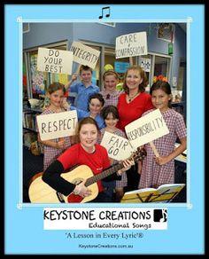 Keystone Creations primary school teaching resource education values based songs Lyrics Website, Songs Website, Key Quotes, Values Education, Primary School, Curriculum, Literacy, Teaching, Singing