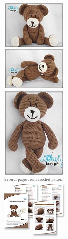 Crochet Pattern - Teddy Bear Pattern, amigurumi bear pattern, Crochet Pattern, amigurumi pattern, beer haakpatroon, hæklet bamse mønster https://www.etsy.com/listing/121290491/amigurumi-pattern-crochet-amigurumi-bear?ref=shop_home_active_15