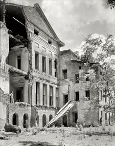 """1938. Iberville Parish, Louisiana. """"Belle Grove."""" The rear of the mansion. 8x10 inch safety negative by Frances Benjamin Johnston"""