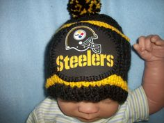 Custom Handmade Knit NFL PITTSBURGH STEELERS Black by magge03 Baby Beanie  Hats 96392a0ac