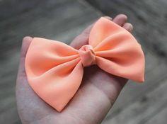 4 5 Apricot hair bow pastel orange hair bow by TwinkleMingle 4 99 Big Bows, Cute Bows, Pastel Orange Hair, Apricot Hair, Types Of Bows, Hair Supplies, Diy Ribbon, Handmade Jewelry Designs, Love Hair