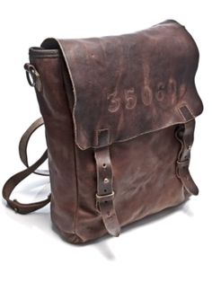 Men's worn leather backpack