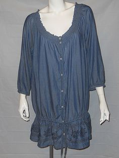 Old Navy Plus 16 Women Blue Chambray Ruffled Tunic Poet Top Blouse Boho Peasant  #OldNavy #Tunic #Casual