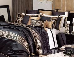 Da Vinci Athena Black 10 Pce Bed Linen Set