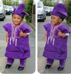 Gorgeous baby boy in traditional Yoruba outfit!