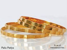bangles... Plain Gold Bangles, Gold Bangles Design, Gold Jewellery Design, Gold Jewelry, India Jewelry, Maharashtrian Jewellery, Diamond Bangle, Jewelry Patterns, Gold Designs