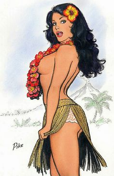 Jay Scott Pike - hula girl, tropical flowers, palm trees, mountain scenery